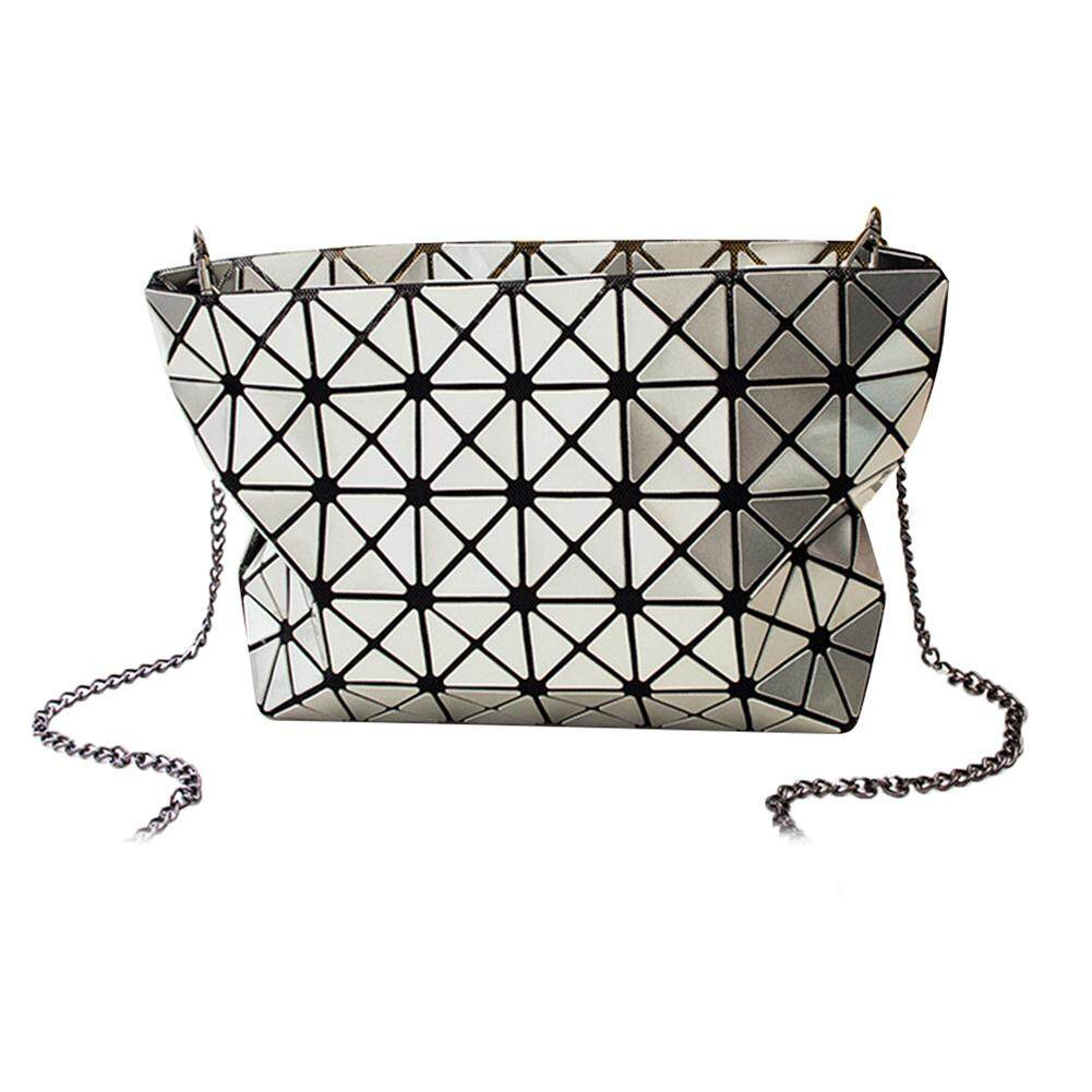 Fashionhead Luminous Women Geometric Grid Laser Shoulder Bag Lady Handbag Long Chain Pouch