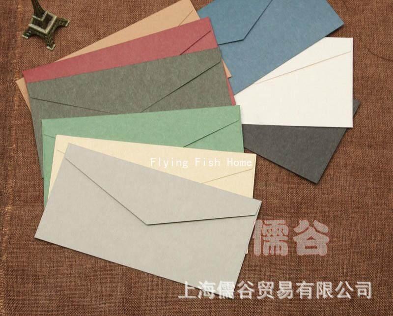 10PCS Solid Color Blank Retro Thick Envelope 22×11cm