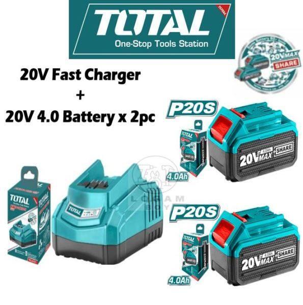 TOTAL BATTERY 4.0Ah 2.0Ah 20V BATTERY FAST CHARGER Bateri Combo Set Powertools Package TFBLI2001 电池充电器