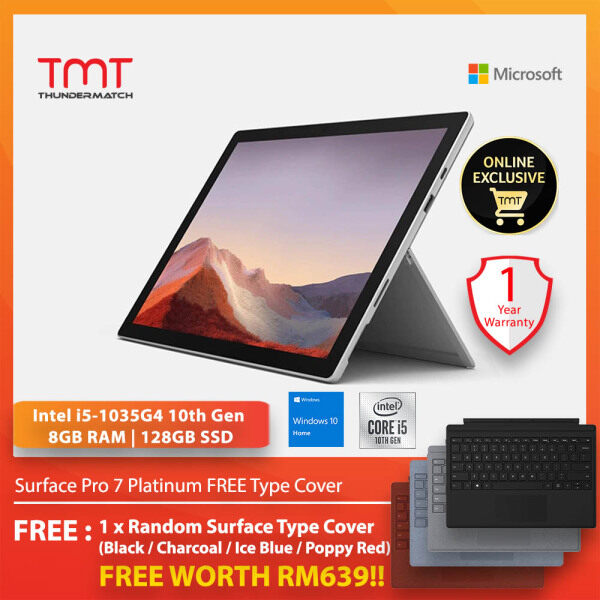 Microsoft Surface Pro 7 Platinum ( Intel Core i5-1035G4, 8GB Ram, 128GB SSD, 12.3 Touch, W10 ) ( VDV-00012 ) + FREE Type Cover Malaysia
