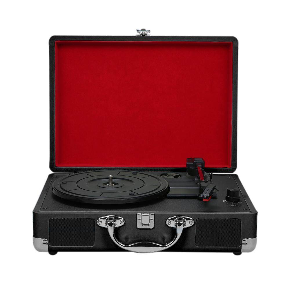 【Free Shipping】Turntable With Speakers Vintage Phonograph Record Player  Stereo Sound Red EU-type