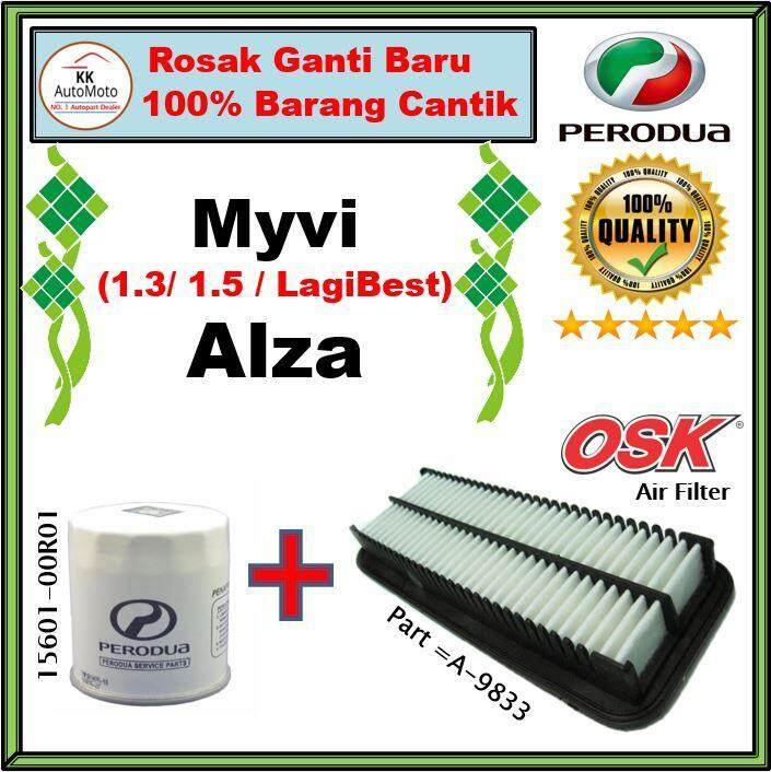 Perodua Myvi 2011-2017 , Alza Oil Filter ( 15601-00r01 ) + Osk Air Filter ( A-9833 ) [ Air Filter + Oil Filter ] By Kk Automoto...