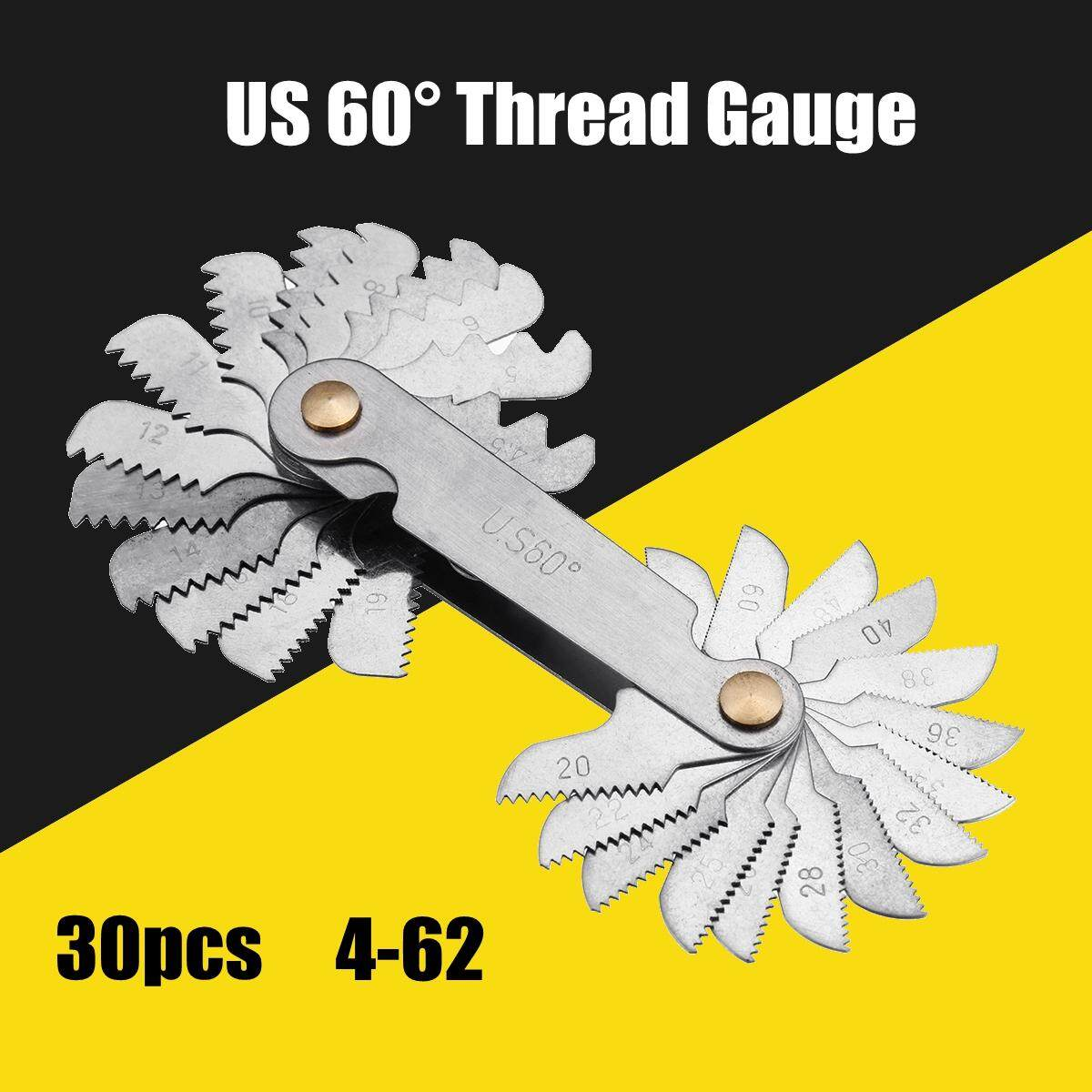30x Blades US 60 Degree Thread Measuring Gauge Gage Screw Pitch Tool Nut & Bolts