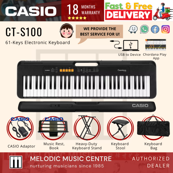 Casio CT-S100 61-Keys Casiotone Electronic Keyboard PACKAGE 3 TYPES (CTS100) Malaysia