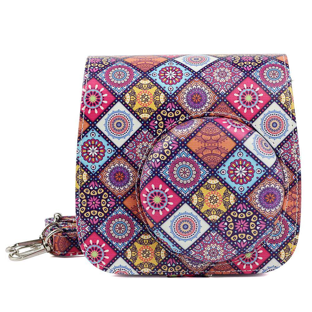 Camera Case Bag Ethnic Style Printing Leather Protective Storage Pack for Polaroid Mini 8 Camera