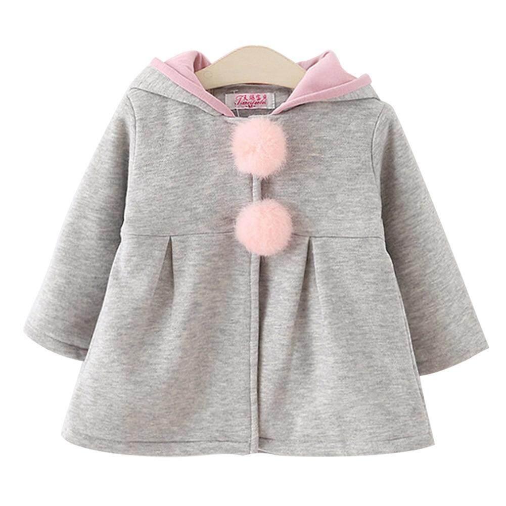 6d58bf2e8363e Cute Hooded Bunny Ears Kids Coat Baby Girl Warm Winter Cotton Jacket