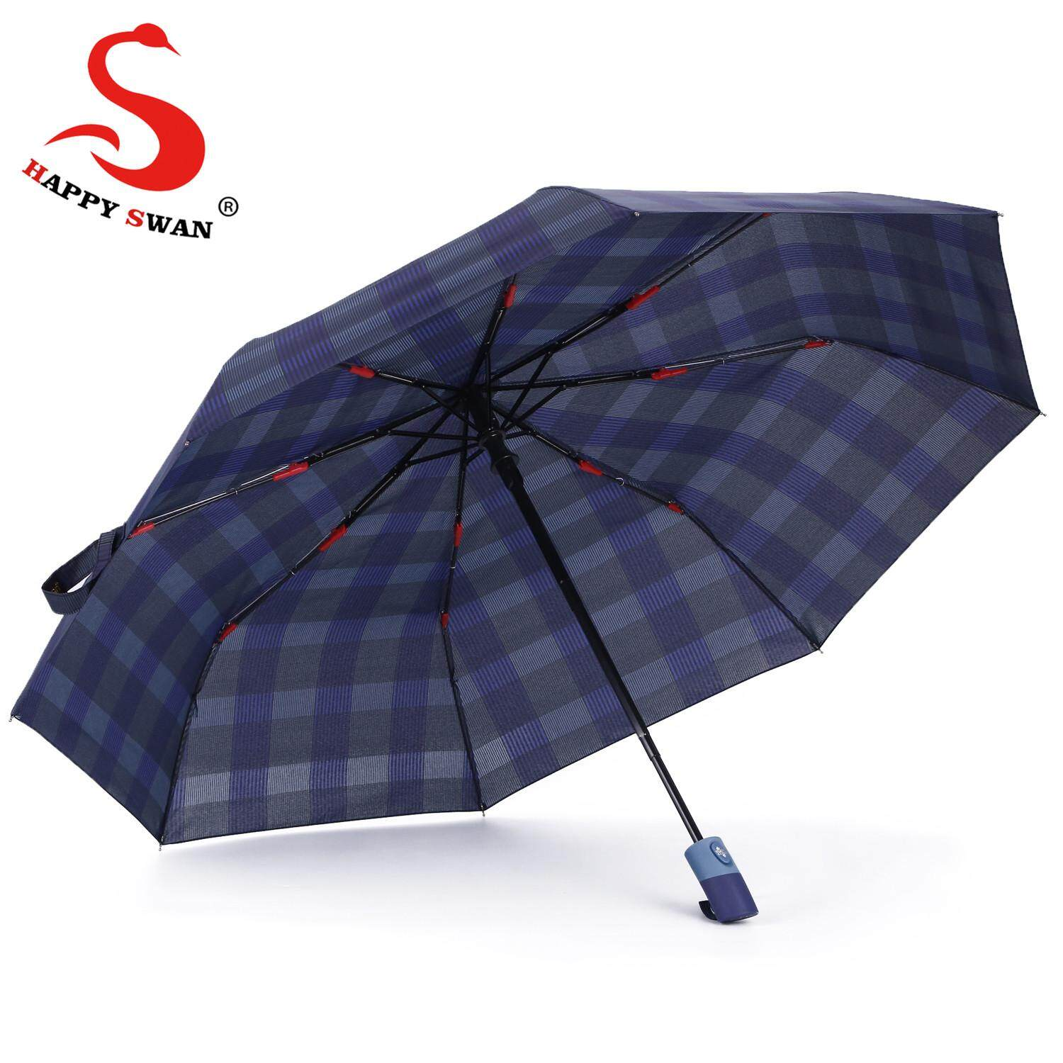 f72f09827b2ff Happy swan automatic open-close 3 folding umbrella Women sun resistant  anti-UV umbrella