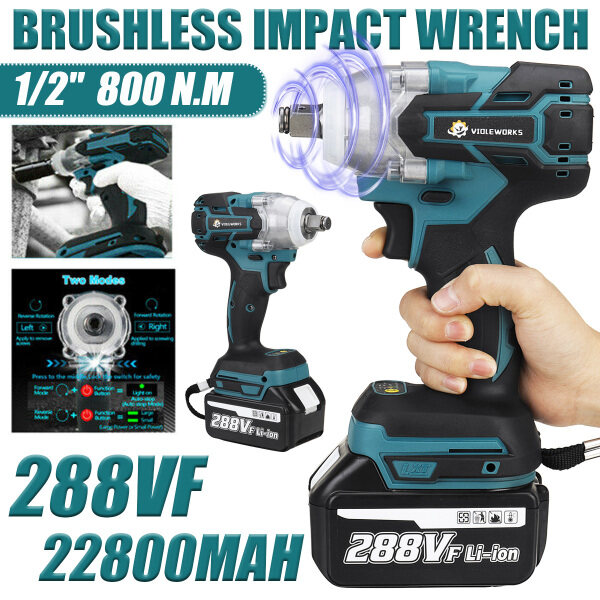 Brushless Cordless Electric Impact Wrench Rechargeable 288V 800N.M 22800mAh Electric Wrench 1/2 inch Square Driver Cordless Brushless Impact Wrench Driver Spanner with 1/2 Battery