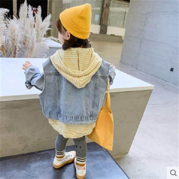 Giá bán Nữ Lưới Đỏ Nữ 2019 Mới Quần Áo Thu Đông Phong Cách Hàn Quốc Trẻ Em Quần Jean Hai Bộ Bé Gái Quần Áo Trẻ Em bộ Quần Áo