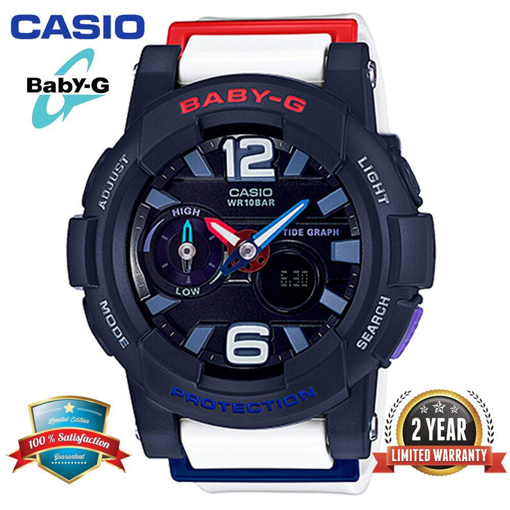 (Ready Stock)Original Casio Baby G_BGA-180-2B2PR Women Sport Watch Duo W/Time 100M Water Resistant Shockproof and Waterproof World Time LED Light Girl Wist Sports Watches with 2 Year Warranty BGA180/BGA-180 Black White Malaysia