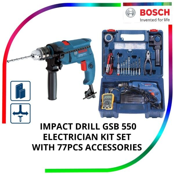 BOSCH IMPACT DRILL GSB550RE ELECTRICIAN KIT SET WITH 77PCS ACCESSORIES