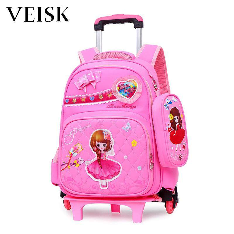 Veisk New Style Six-wheeled Rod Bag Primary School Students Children Bag Children Shoulders Backpack
