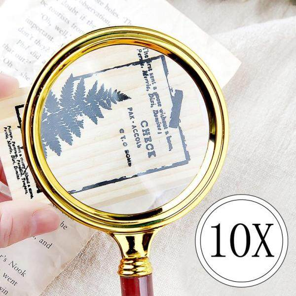 1PC Portable Handheld 10X Magnifying Glass 60mm 70mm 80mm 90mm Retro Handle Magnifier Eye Loupe Glass