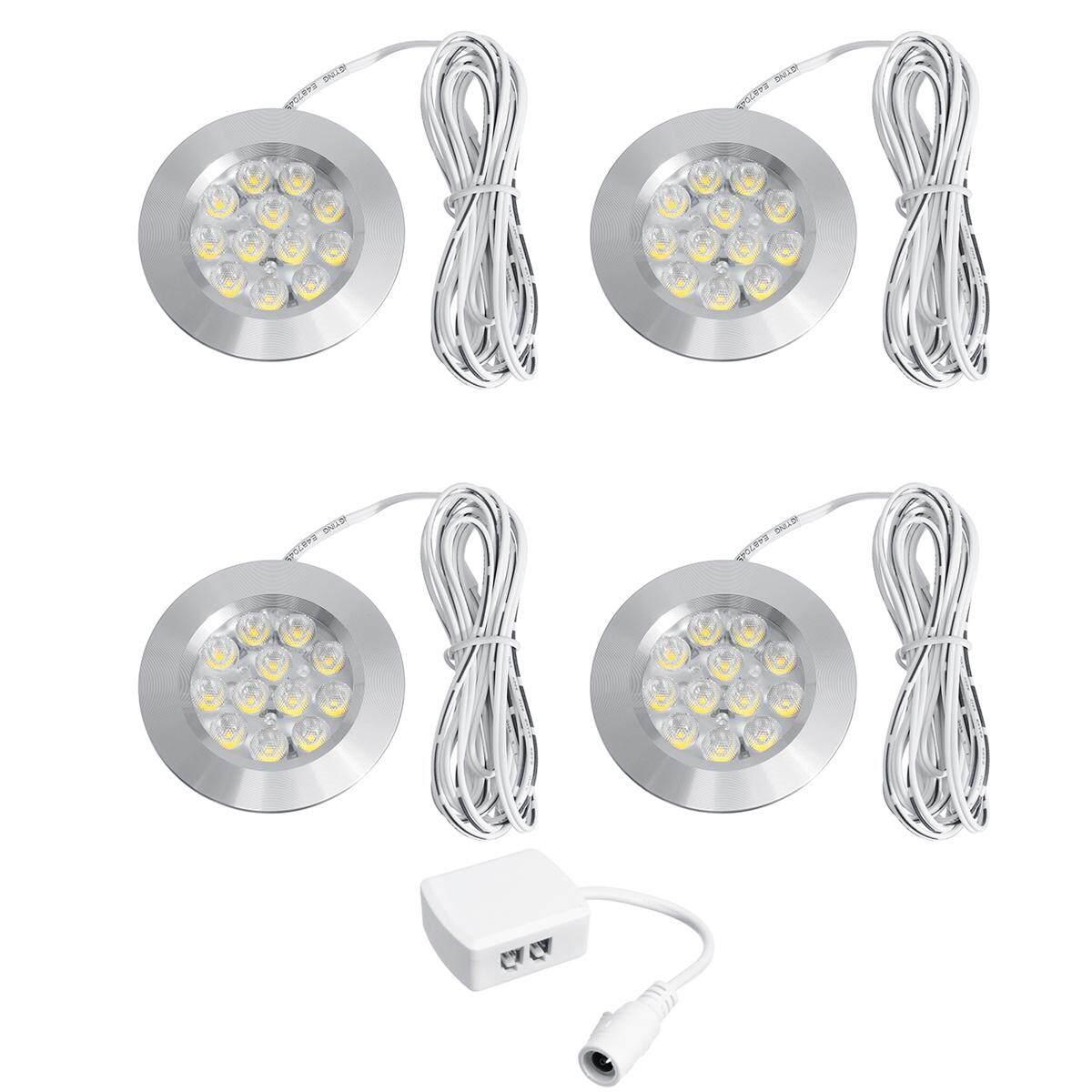 4pcs 12V Recessed LED Down Light Caravan Camper Trailer Car Cabin Ceiling Lamp Warm White