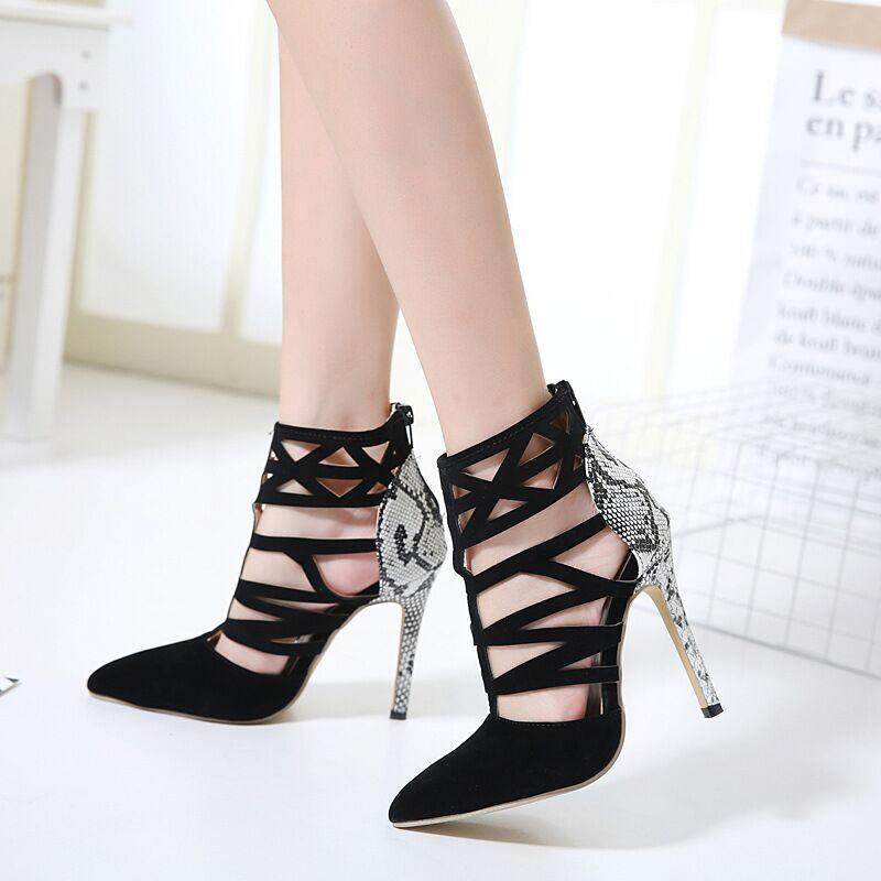 Summer High Heels Sandals Shoes for Women Snakeskin pattern Pointed Toe stiletto Pumps Shoes Ladies High Heels Sandals Shoes Woman Casual Shoes Large Size 35-40