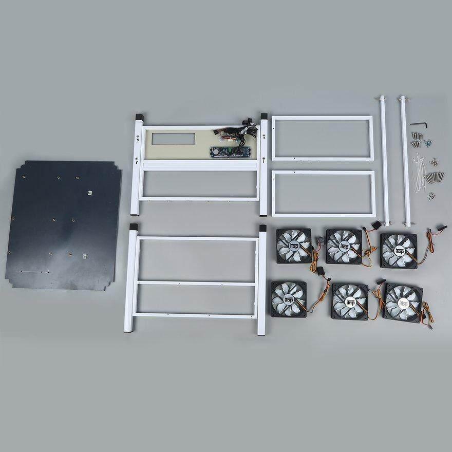 ลดราคามาก 6 Gpu เปิดการทำเหมืองแร่คอมพิวเตอร์ Eth Miner Frame Rig 6x พัดลมและ Temp Monitor By Wrapheart.