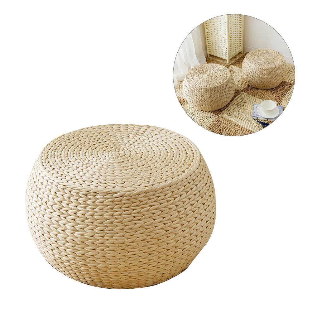 Natural Woven Weave Grass Futon Floor Cushion, Handmade Straw Woven Zafu Yoga Meditation Mat Round Square Braided Pad Garden Dining Room Pillow Floor Mat