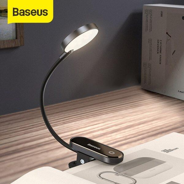 Baseus Mini LED Reading Table Clip Lamp Eye protection Dimmable Bedside Lamp Rechargeable Bedroom Night Lights for Home Office