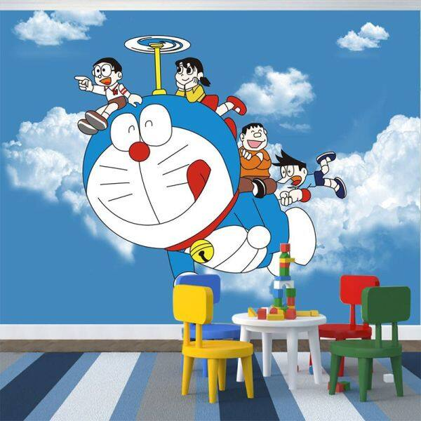 Kertas Dinding Bilik Kanak-Kanak3dKartun DoraemonaDream Wallpaper Bilik Tidur Lukisan Dinding Girl Room Background Wall Cloth