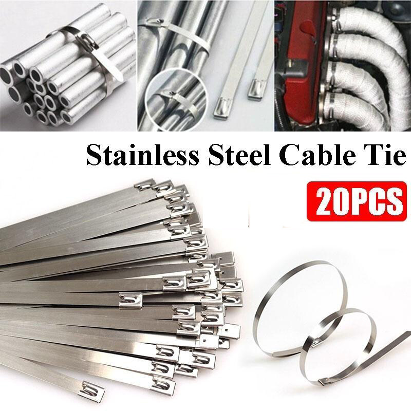 20pcs 150/200/300mm Strong Stainless Steel Marine Grade Metal Cable Ties Zip Tie Cord Wraps Exhaust Exhaust Wrap Coated Locking