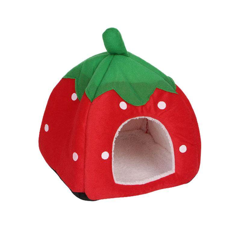 Size :m Cute Strawberry Pet Bed Dog Cat Kitten Puppy Cave Kennel House With Mat Foldable By Jiaman.