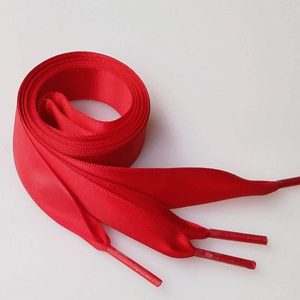 Unisex 2CM Wide Candy Color Plain Shoelaces Ribbon Satin Shoe Laces Sport Shoes