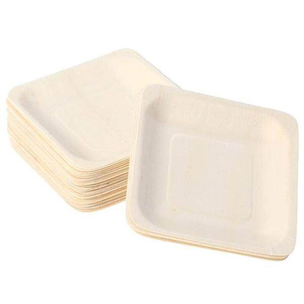 50Pcs Disposable Square Wooden Plates Portable Tableware for Birthday Party Wedding Restaurant Picnic