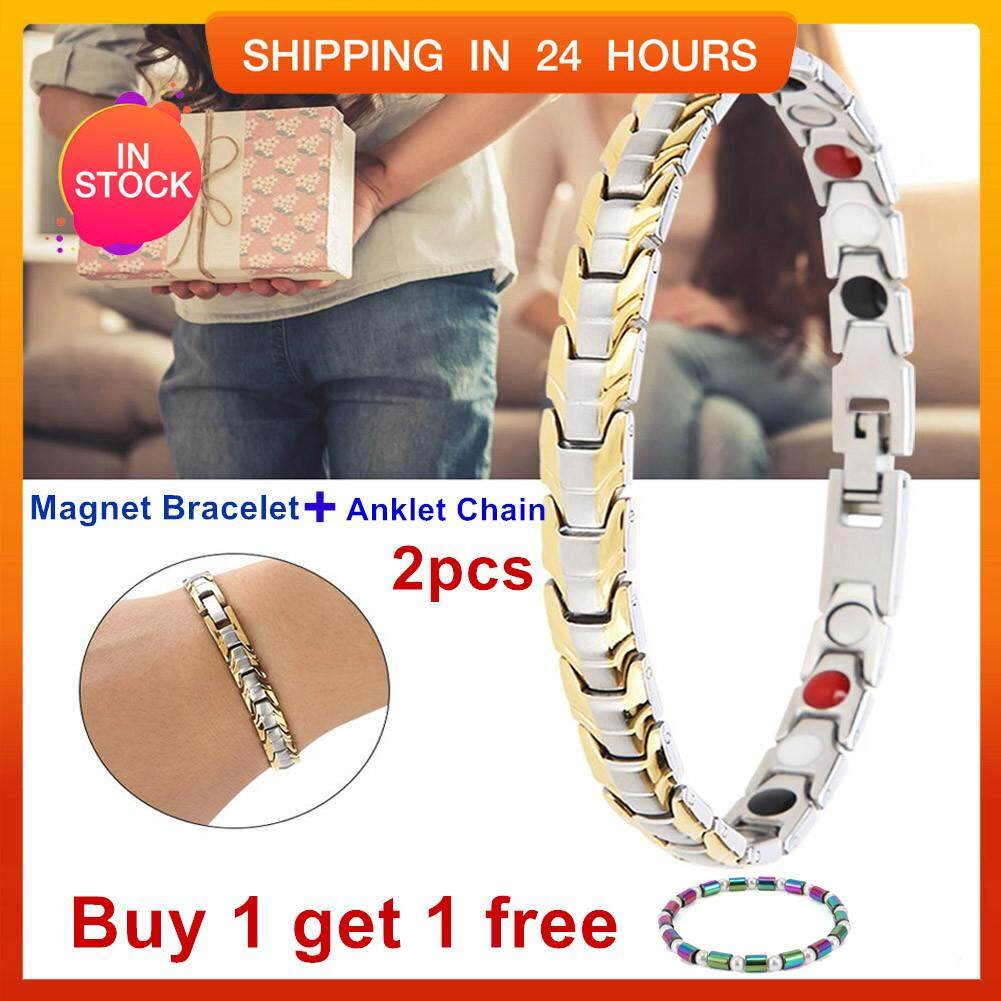 fc6e28ebfa59f7 【Buy 1 get 1 free 】Titanium Steel Magnetic Treatment Bracelet Men Jewelry  Adjustable Magnetotherapy
