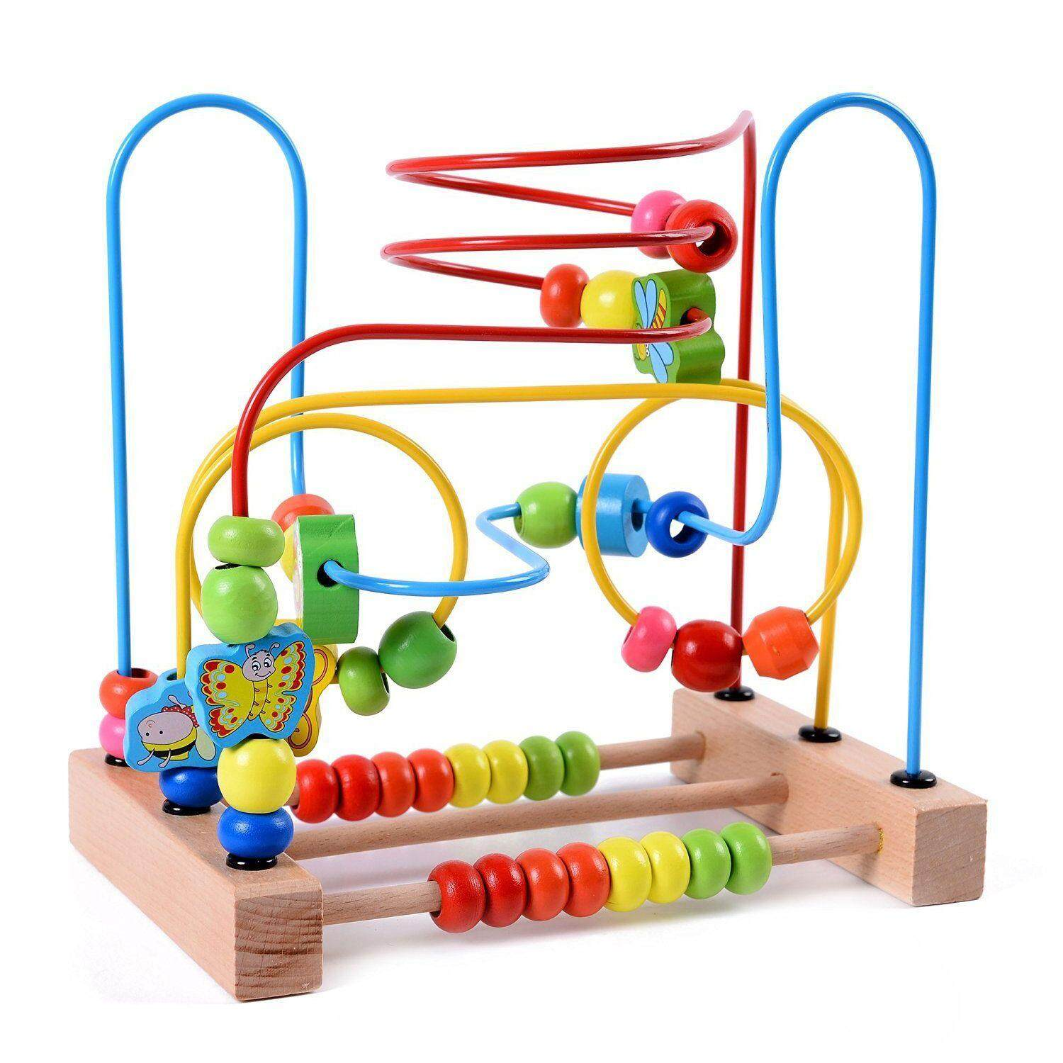 Mwz Wooden Baby Toddler Toys Circle First Bead Maze For Boys Girls By Rainning.