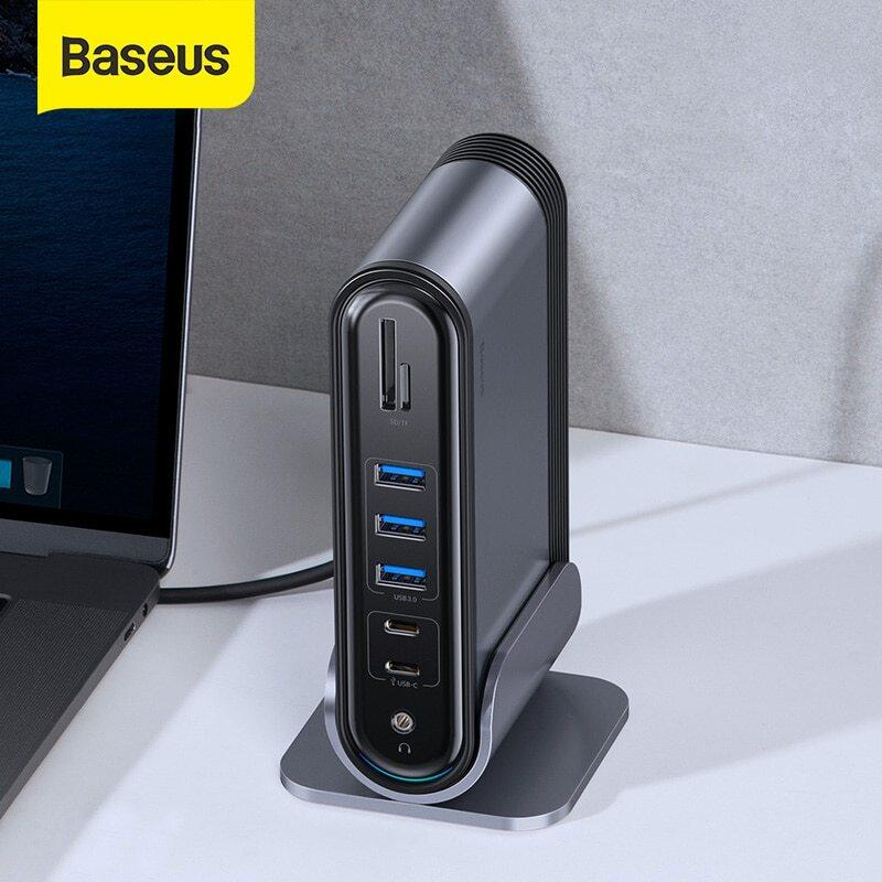 [In stock now, Sufficient supply, can be shipped on the day of order,CN EU UK plug all support ] Baseus USB C HUB Type C to Multi HDMI USB 3.0 with Power Adapter Docking Station for MacBook Pro RJ45 OTG USB Ports USB HUB