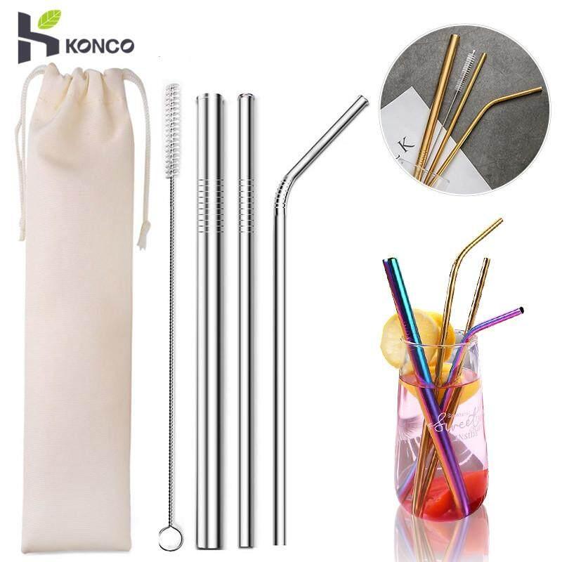 Konco 5 Pcs Eco Friendly หลอดดูดน้ำใช้ใหม่ได้ 304 หลอดสเตนเลสโลหะสมูทตี้หลอดดื่มชุดแปรงและกระเป๋า By Konco.