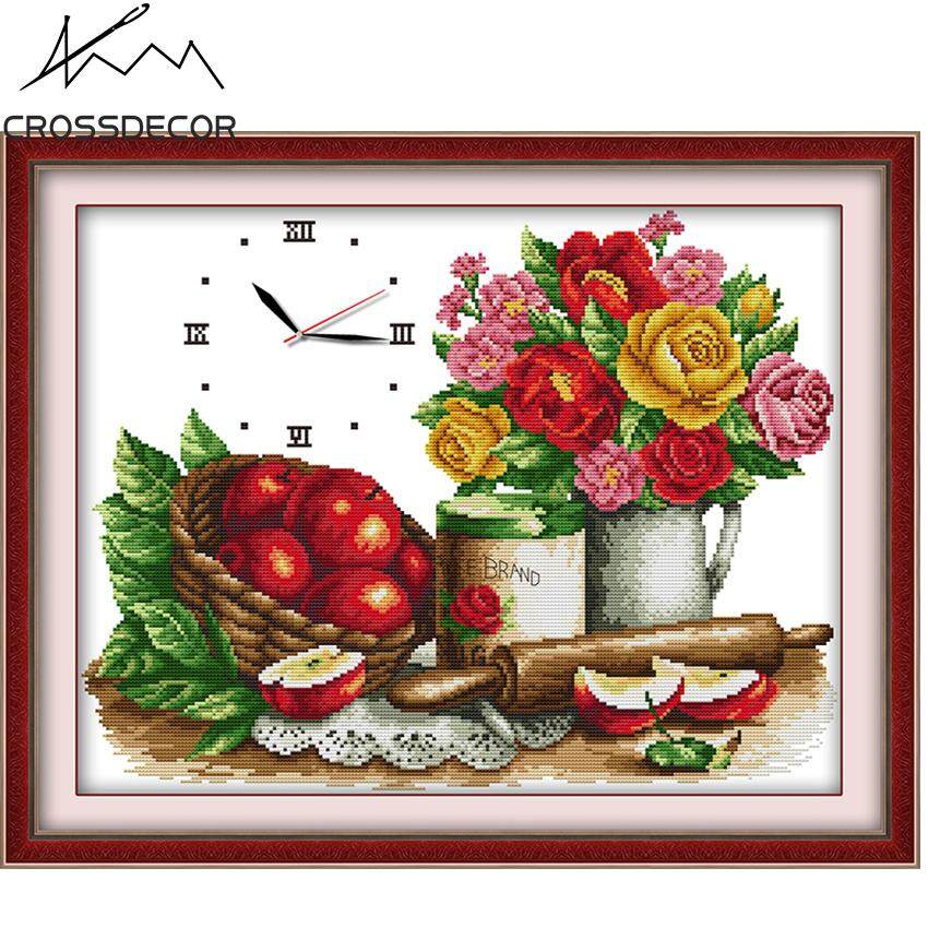 Clock Cross-Stitch Flowers & Fruit (no  clock core) Precise Stamped Complete Set DIY Handmade Embroidery Needlework 11CT DMC Complete Kits Pre-Printed On the Cloth Home Room Hallway Decor