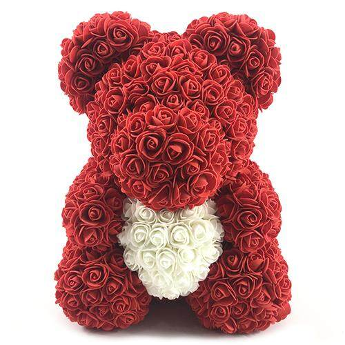 Finether 40cm Christmas Decoration Color Blocking Flower Bear