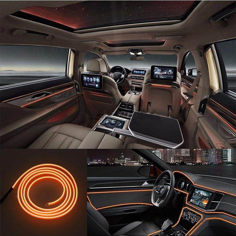 2M 12V Car Vehicle Ambient Interior Orange Cold Light Strip Atmosphere Neon Lamp