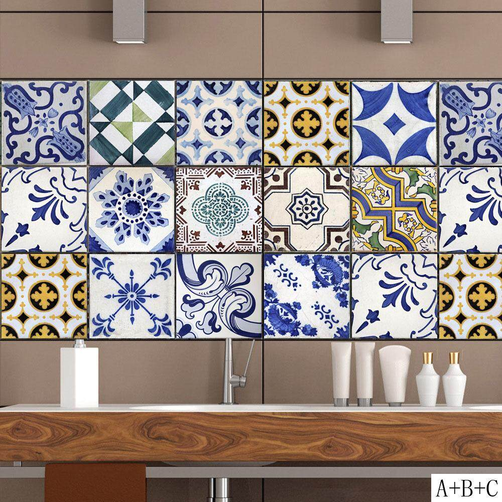 Traditional Geometric Symmetry Flower Tiles Decal Sticker Kitchen Decoration Tiles Wallpaper