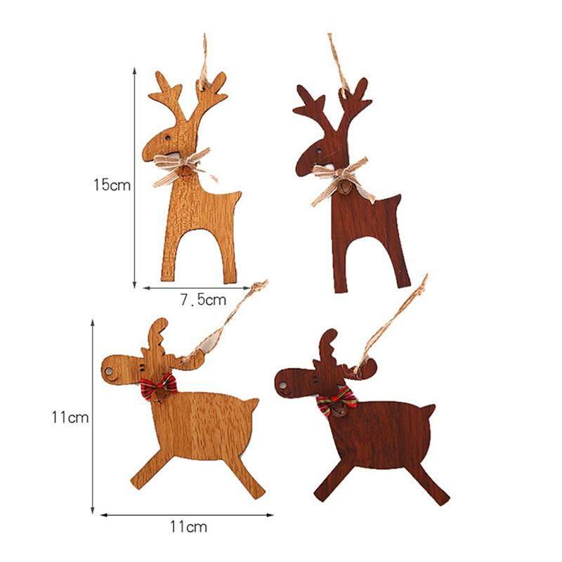 Christmas Wooden Deer Pendant Christmas Tree Elk Ornament Kids Gift Xmas Decor