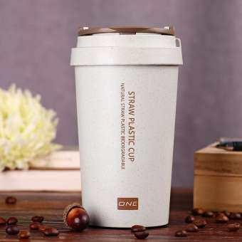 400 ml ฟางข้าวสาลีแก้วกาแฟแฟชั่นขวดน้ำนักศึกษาแก้วน้ำเป็นมิตรกับสิ่งแวดล้อมแก้วสำหรับรถถ้วยใส่นม-