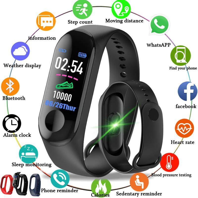 Valentines Day Gift Men Women Smart Watches Sport Fitness Bracelet Color-screen Waterproof blood pressure Monitor Heart Rate Monitoring Pk m3 Malaysia