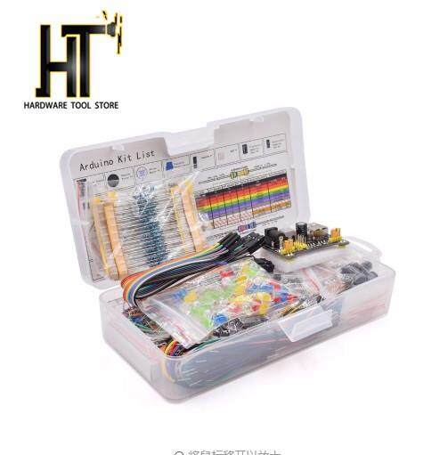 HT [Free shipping] Electronics Component Basic Starter Kit with 830 Tie-points Breadboard Cable Resistor Capacitor LED Potentiometer Box Packing