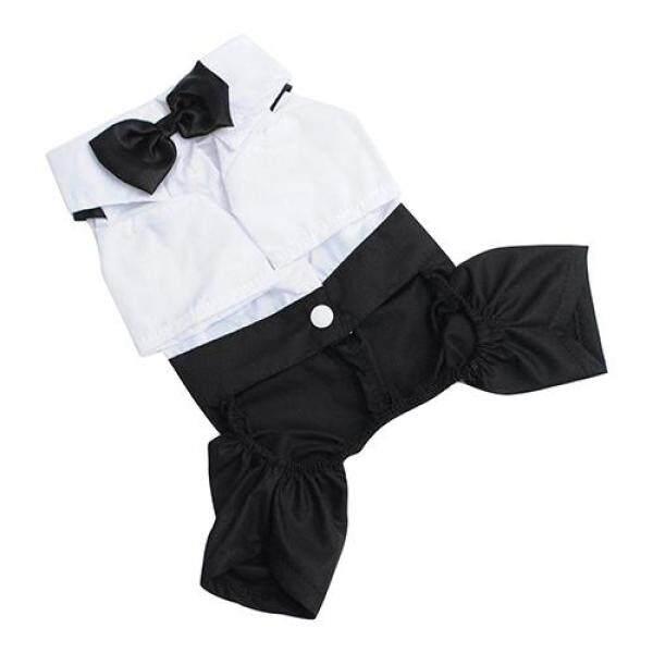 Bộ áo liền quần và nơ bướm Tuxedo phong cách hoàng tử size S-XXL cho chó mèo thú cưng Huanhuang® - INTL