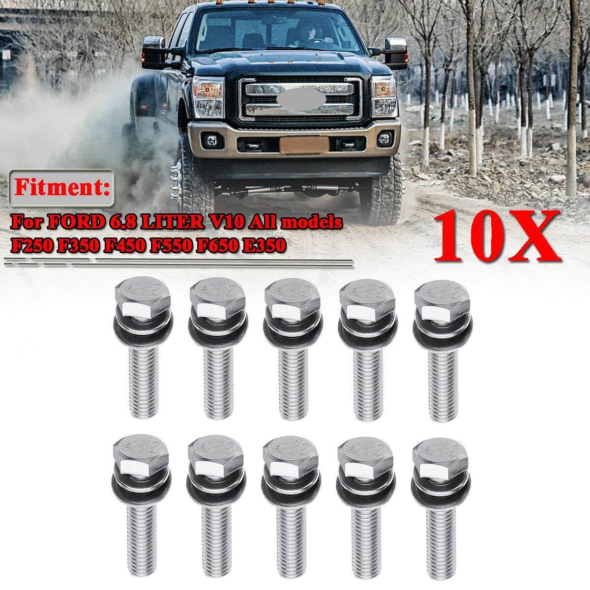 【free Pengiriman + Flash Deal】stainless Steel Exhaust Manifold Kancing Baut Stud Perlengkapan Mur Untuk Ford 6.8 Liter V10 By Autoleader.