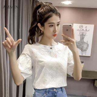 AMMIN Miễn Phí Vận Chuyển Mới phiên bản Hàn Quốc của Cổ Tích tính khí ngắn trắng phối ren nữ cổ tròn móc thời trang hoa rỗng búp bê sang trọng, nữ áo voan nữ mùa hè thumbnail