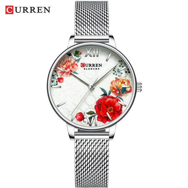 CURREN 9060 Luxury Casual Business Quartz Women Watch Flower Dial Elegant Exquisite Lady Wrist Watch 3ATM Waterproof Clock Wristwatch for Ladies with Stainless Steel Mesh Strap Band Malaysia