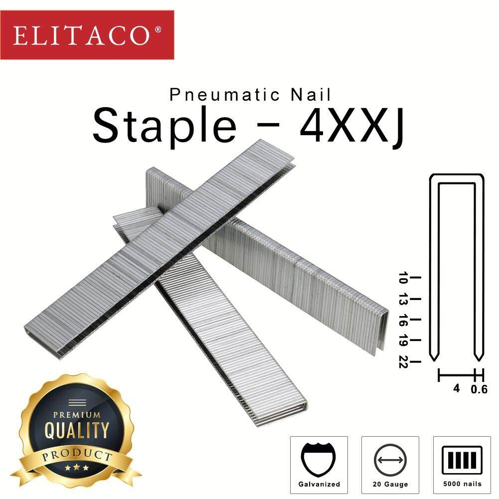 ELITACO® 410J 413J 416J 419J 422J 5000pcs Staple Pneumatic Tacker Brad Nail Wood working DIY Furniture Finishing