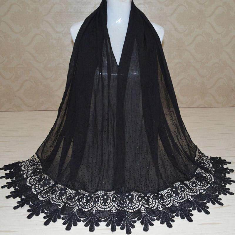 Ladies Floral Lace Edges Hijab Shawl Cotton Muslim Scarves Scarf Soft Maxi Scarf