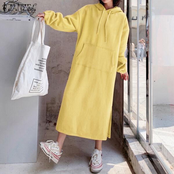 Áo Phong Cách Hàn Quốc Có Mũ ZANZEA Cho Nữ, Áo Nỉ Sang Trọng Xuân Thu Mùa Đông Váy Chui Đầu Đầm Maxi Dài