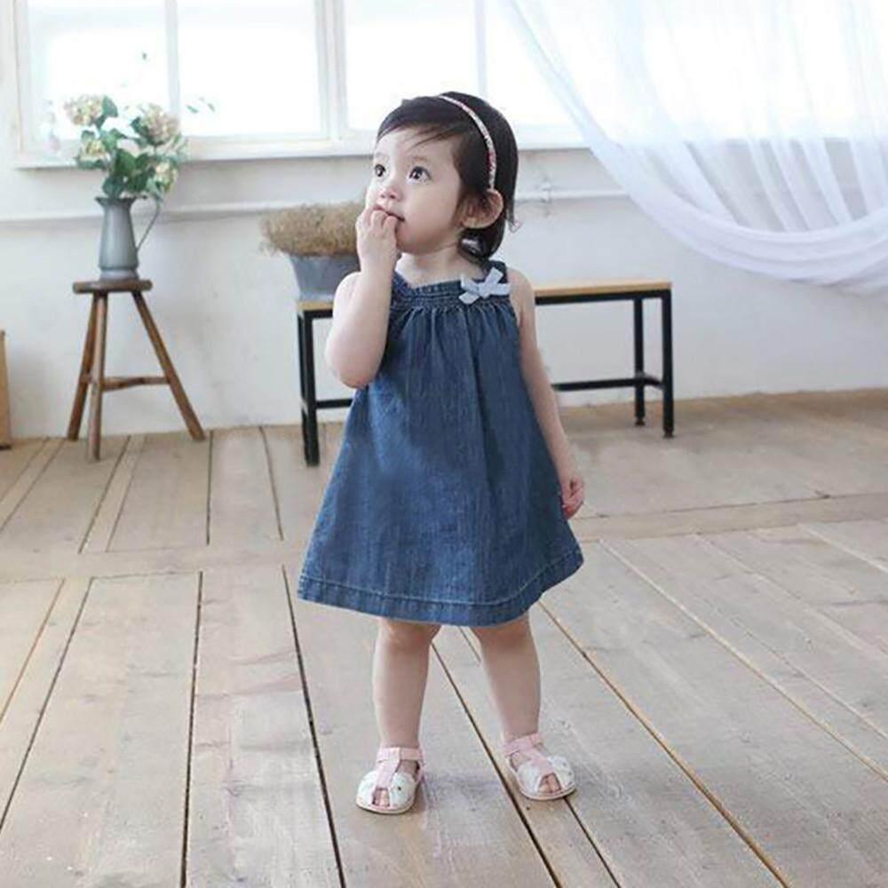 e49375191 Toddler Baby Girls Solid Sleeveless Princess Denim Dresses Outfits Sundress