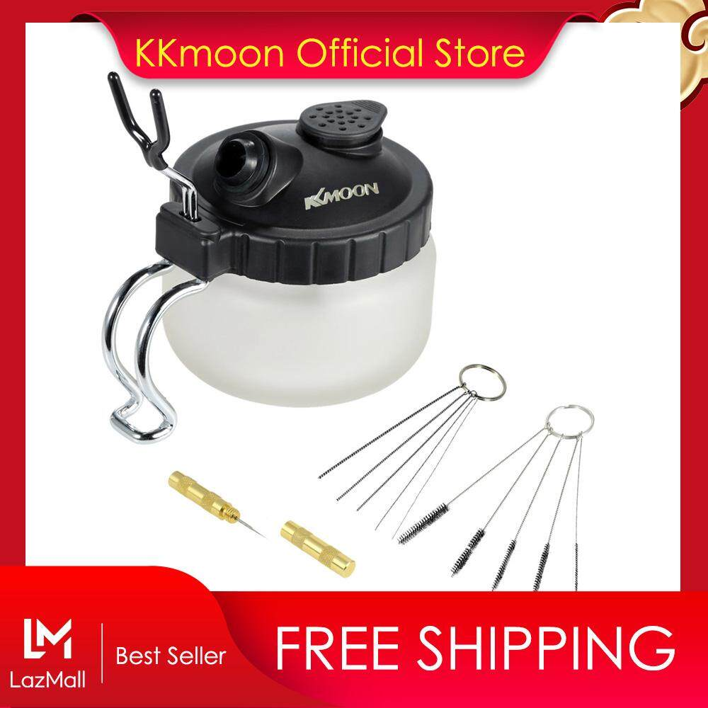 KKmoon Airbrush Cleaning Pot Glass Air Brush Holder Clean Paint Jar Bottle Spray Wash Clean Tools Needle Nozzle Brush Set