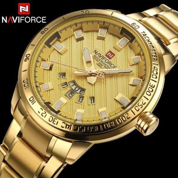 Naviforce Mens Luxury Quartz Watch Stainless Steel Mens Watch Mens Clock Automatic Date Waterproof Watch Silver Black Gold Gift Box Malaysia