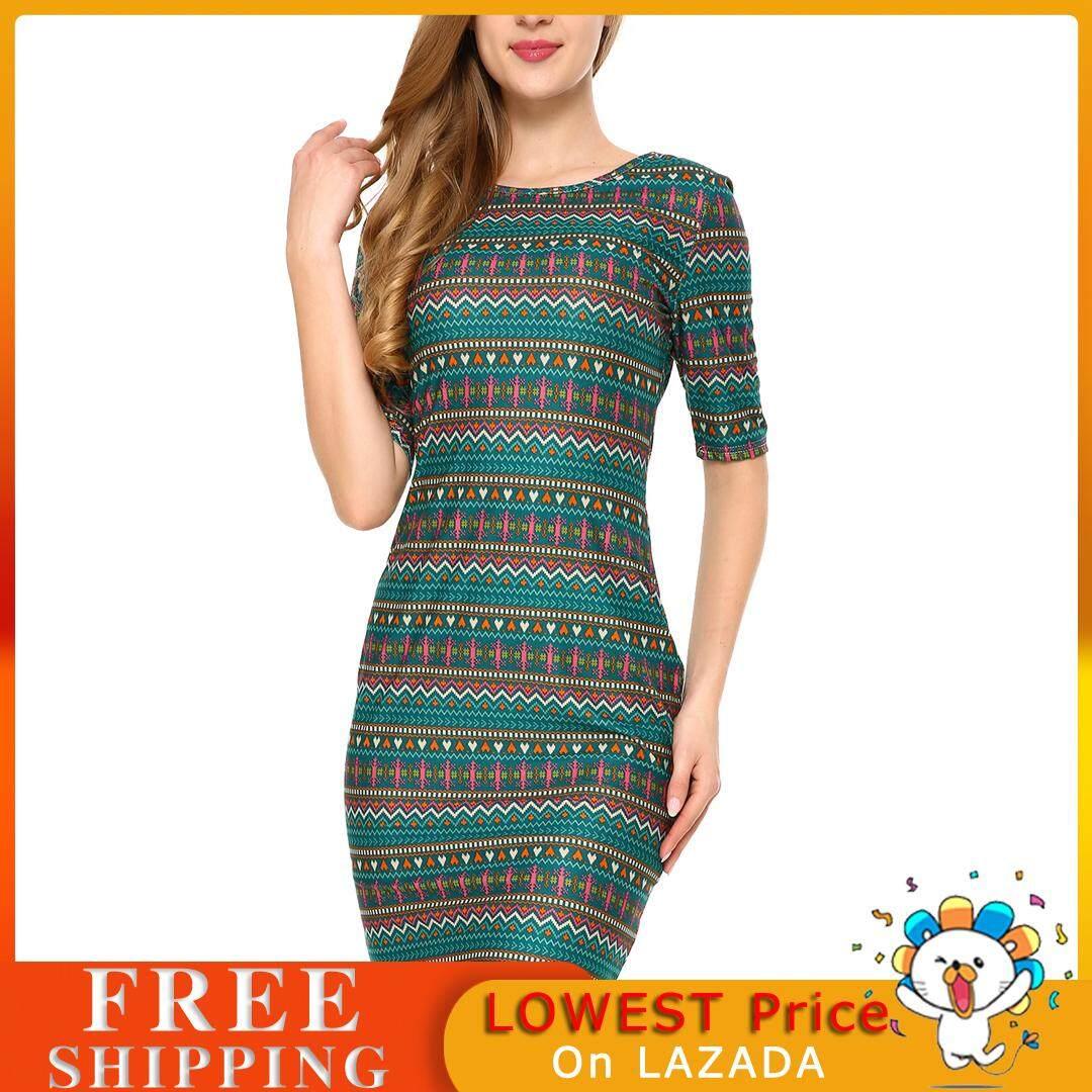 b84c612718c2 (Best Sale)Mixfeer Women's Vintage Print Open Back Bodycon Dress